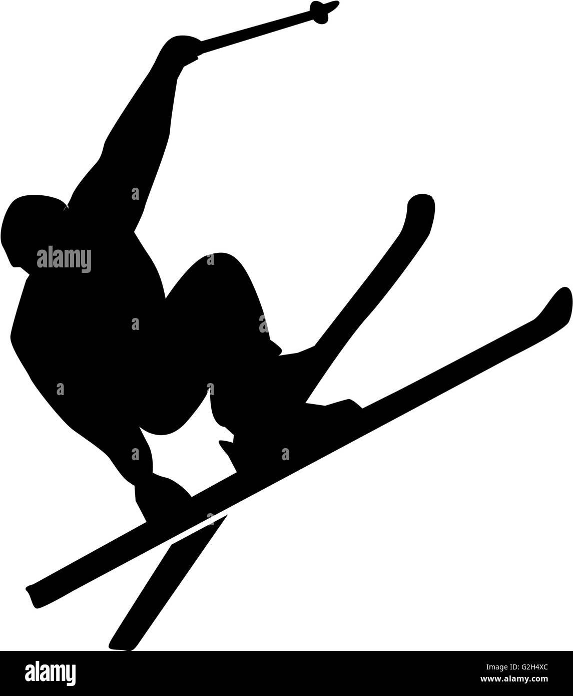 Ski Stunt Silhouette - Stock Image