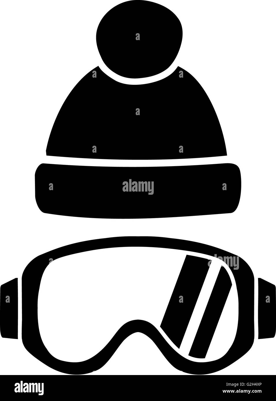 Ski Goggles with Hat - Stock Image