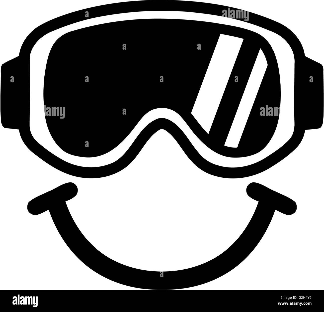 Ski Goggles Smiling - Stock Image