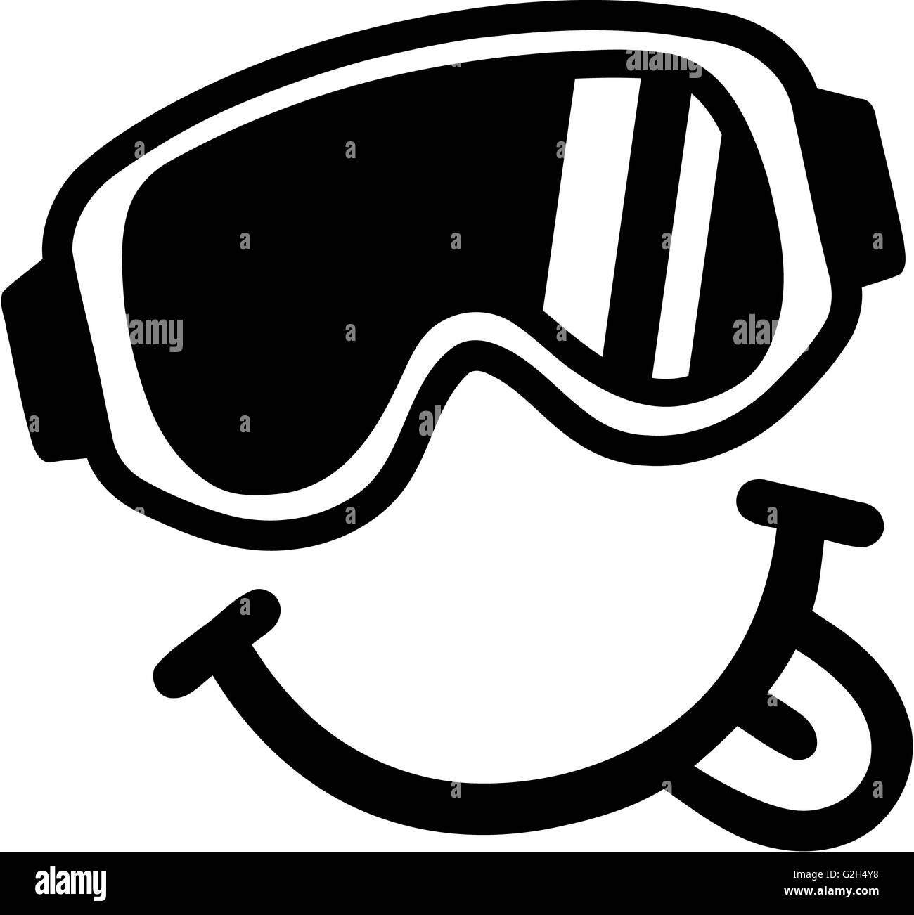 Smiley Ski Goggles Tounge - Stock Image