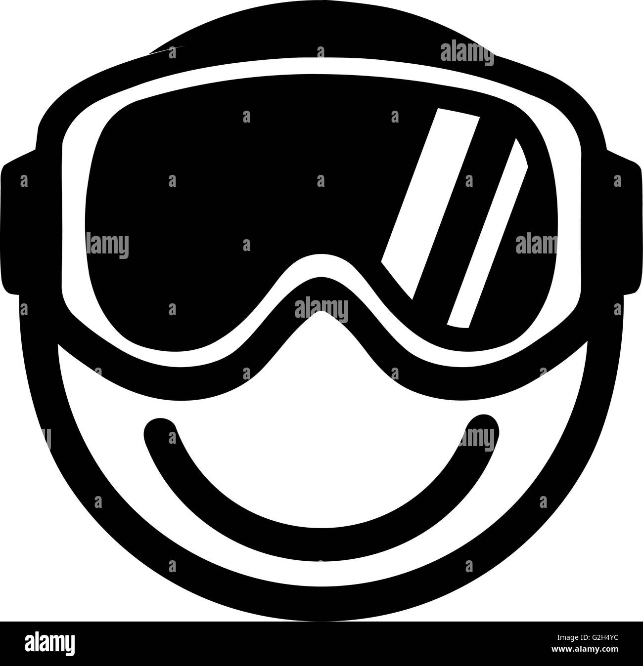Smiley with Ski Goggles - Stock Image