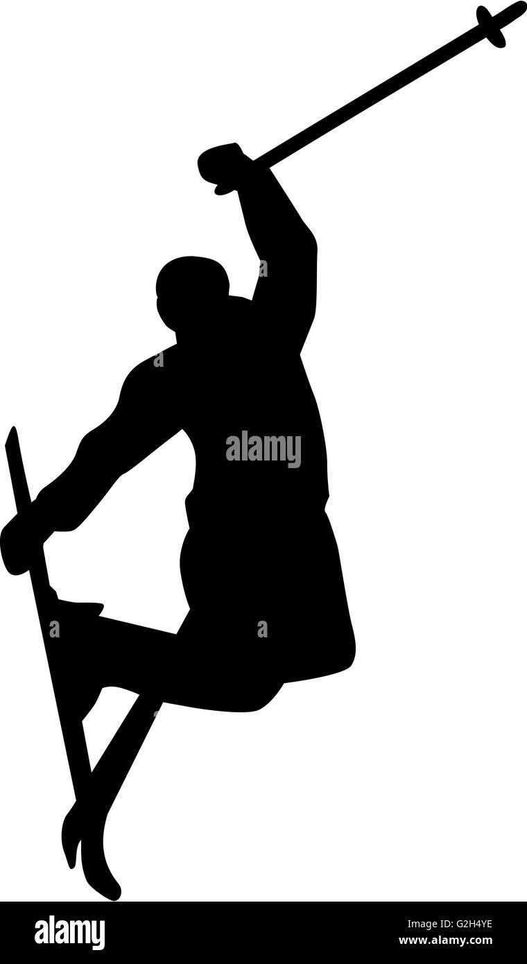 Ski Jump Silhouette - Stock Image