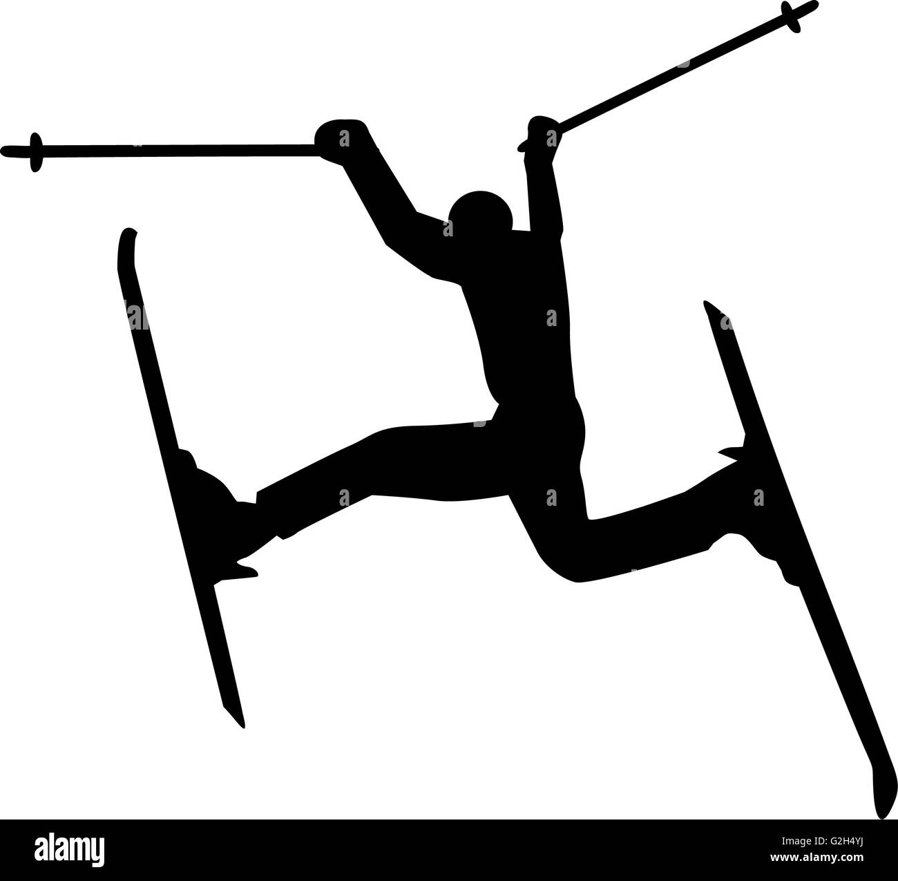 Crazy Skier Silhouette - Stock Image