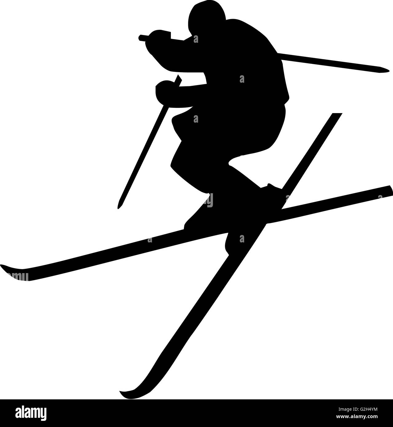 Ski Jumping Silhouette - Stock Image
