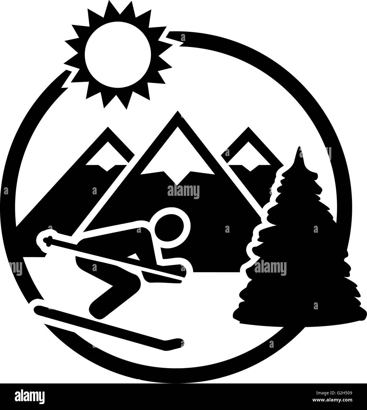 Ski Mountains Badge - Stock Image