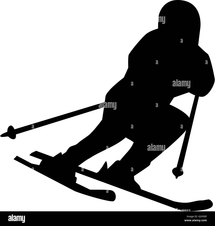 Ski Run Silhouette Isolated - Stock Image