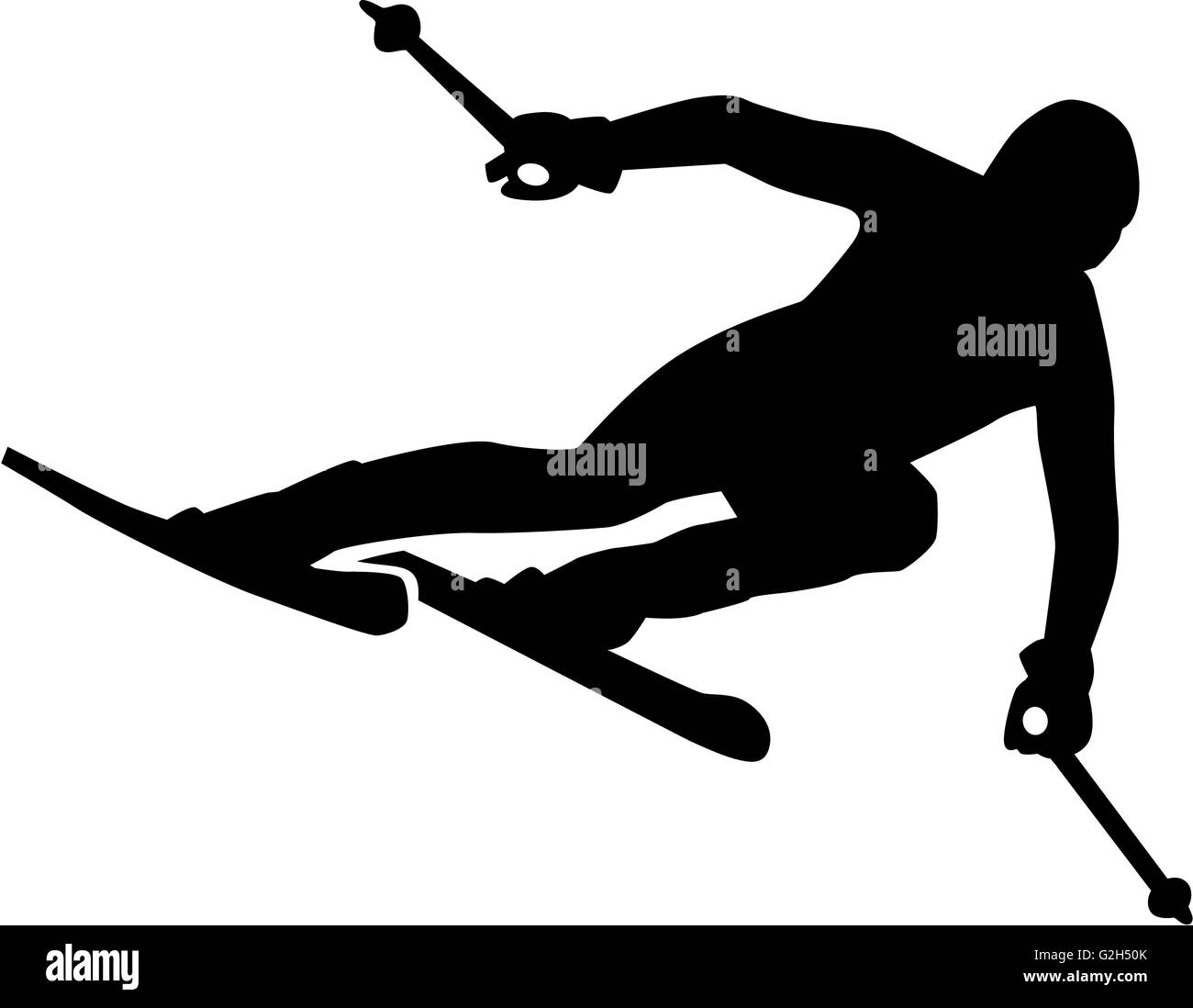 Ski Run Silhouette - Stock Image