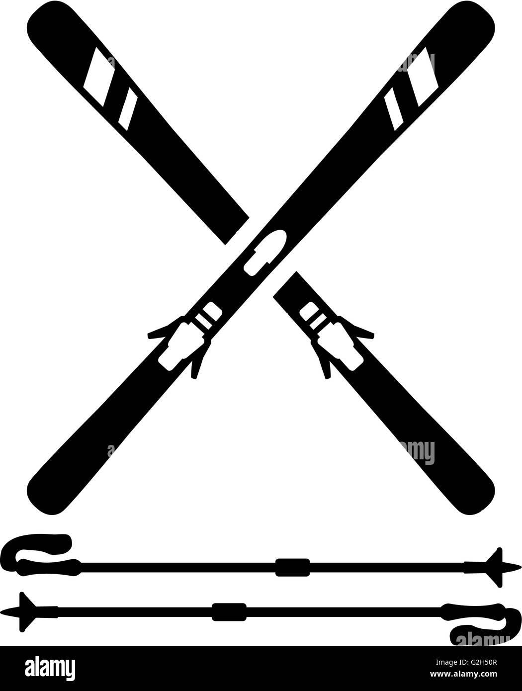 Ski Equipment Skis Sticks - Stock Image