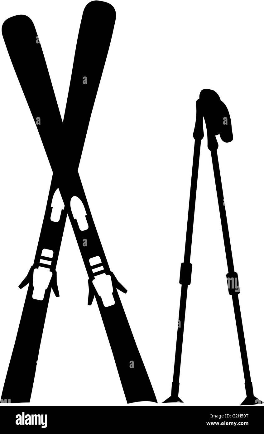 Ski Equipment Standing Snow - Stock Image