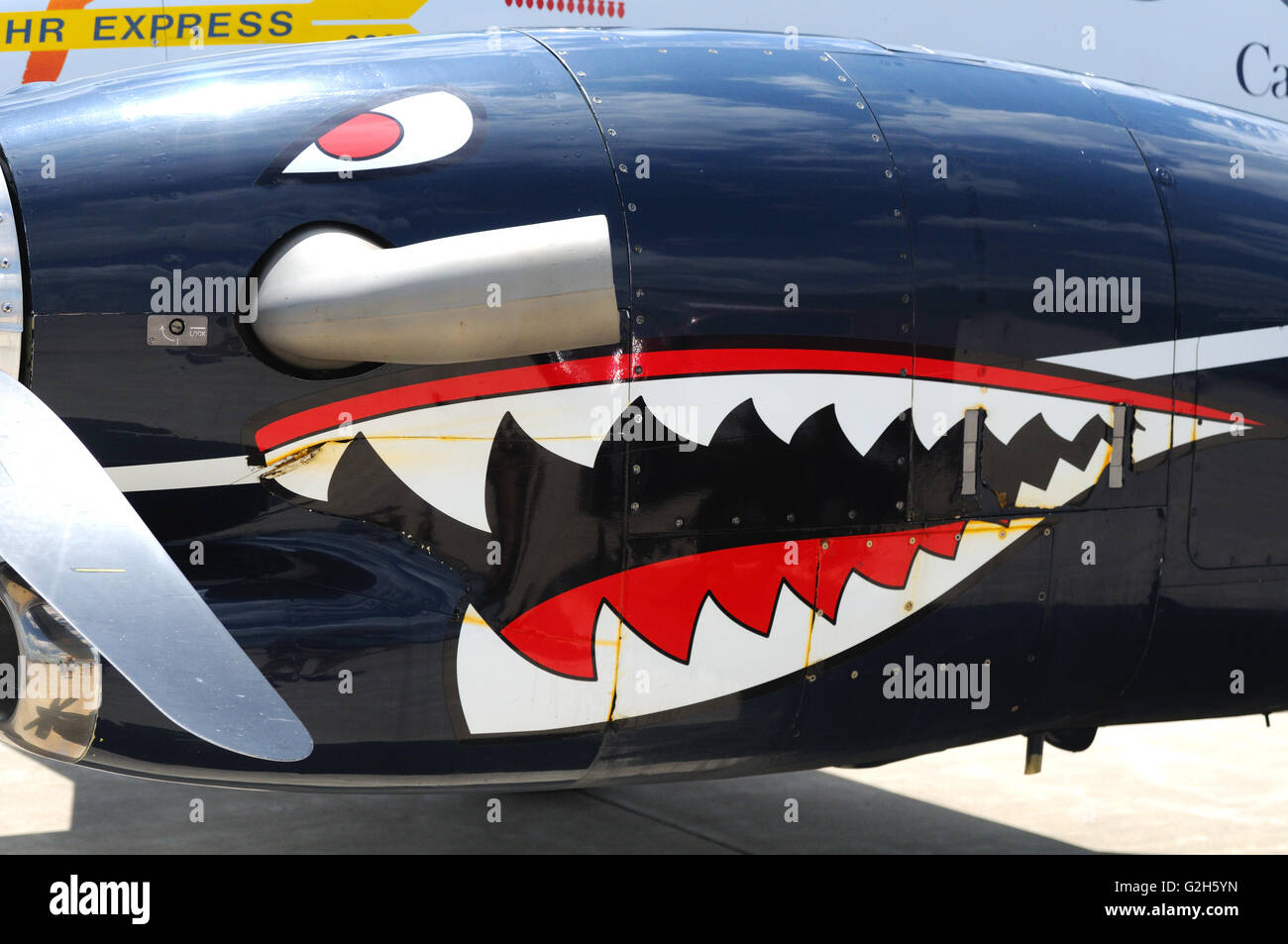 Turboprop engine nacelle of the Canadian Forces C-90B King Air - Stock Image
