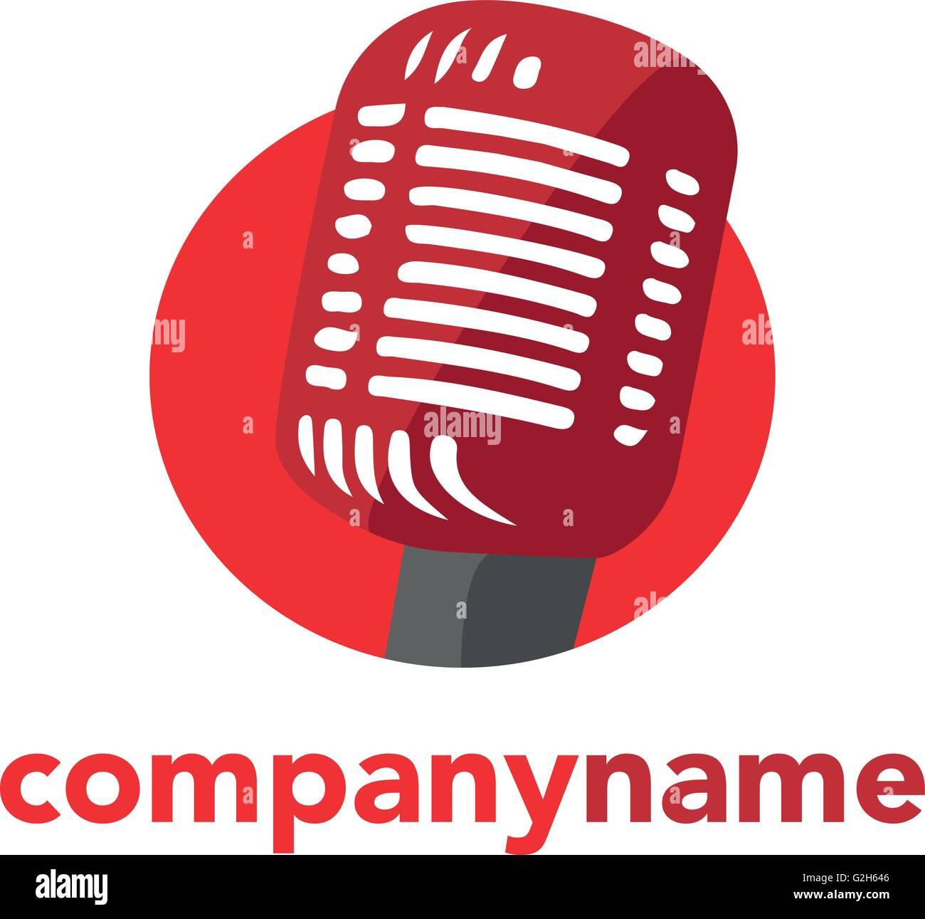 Microphone icon logo. Speaker symbol. Live music sign. Vector illustration. - Stock Image