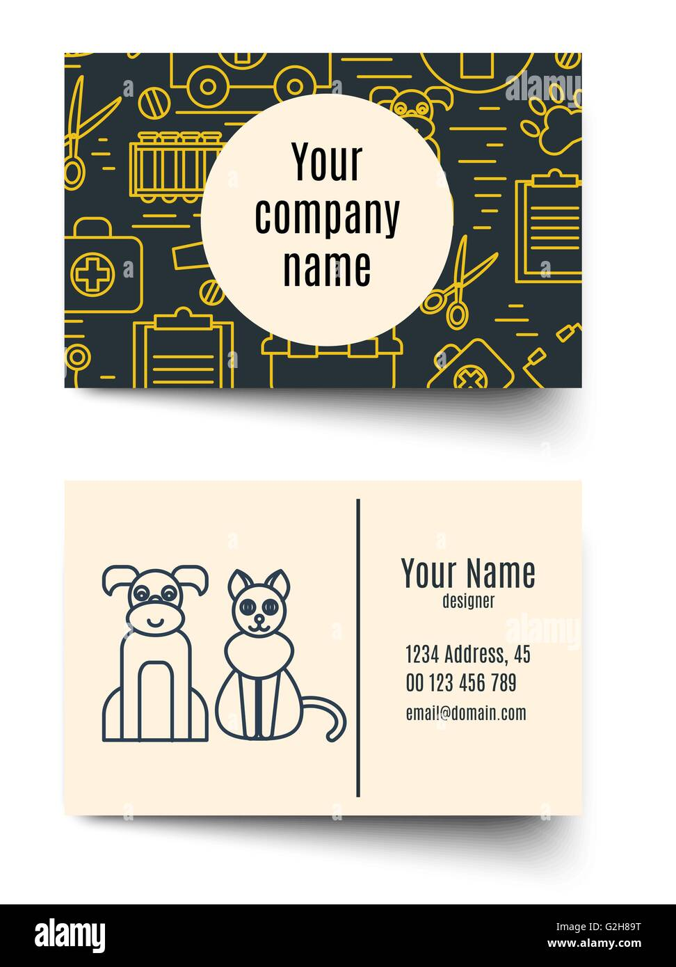 Veterinary pet health care animal medicine business card Stock ...