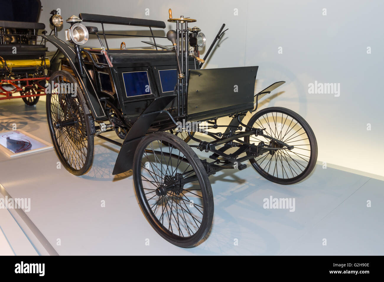 STUTTGART, GERMANY- MARCH 19, 2016: Benz Motor Velocipede also known as Velo, 1884. Mercedes-Benz Museum. - Stock Image