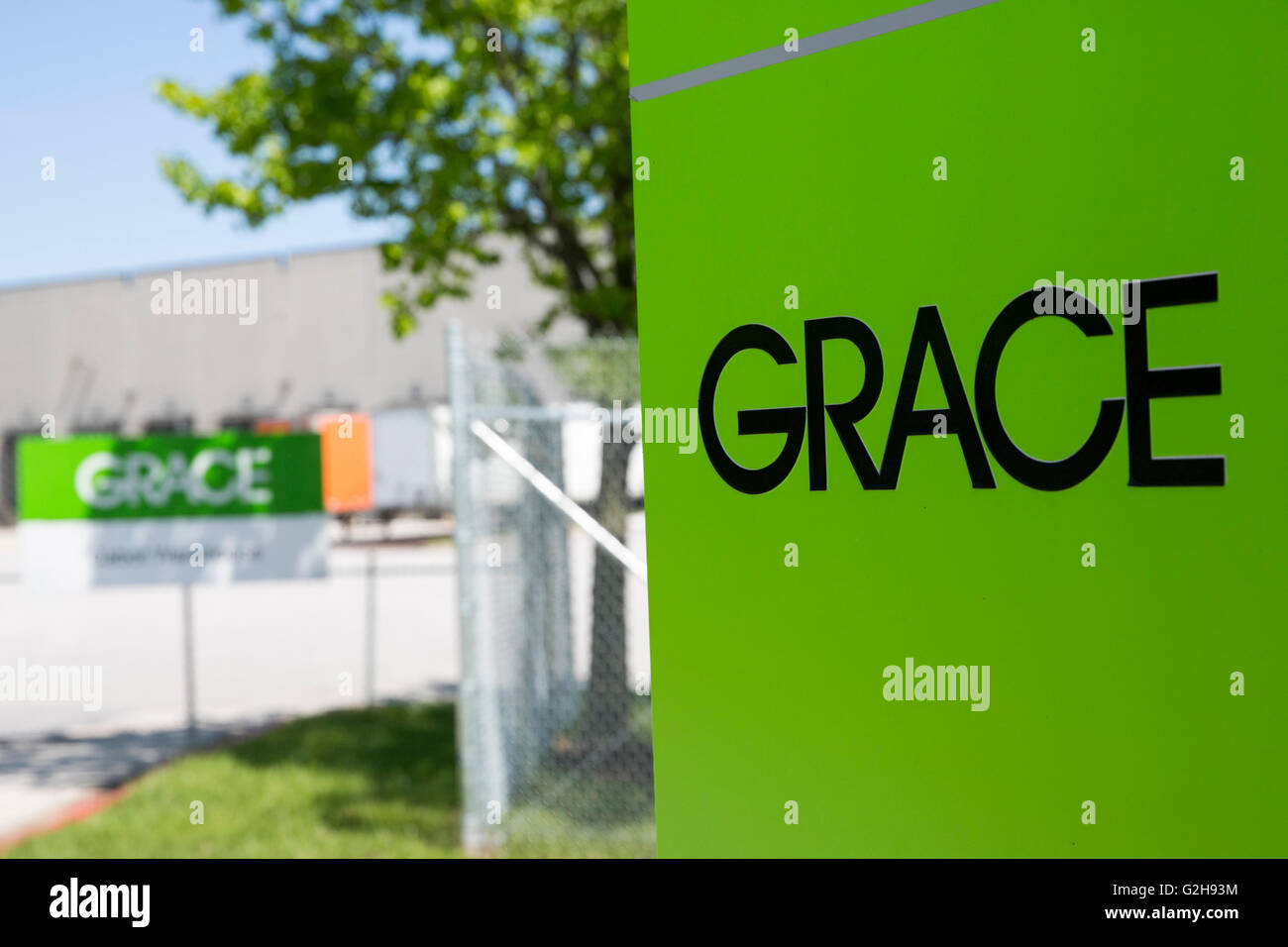 A logo sign outside of a facility occupied by W.R. Grace & Co., in Curtis Bay, Maryland on May 8, 2016. Stock Photo
