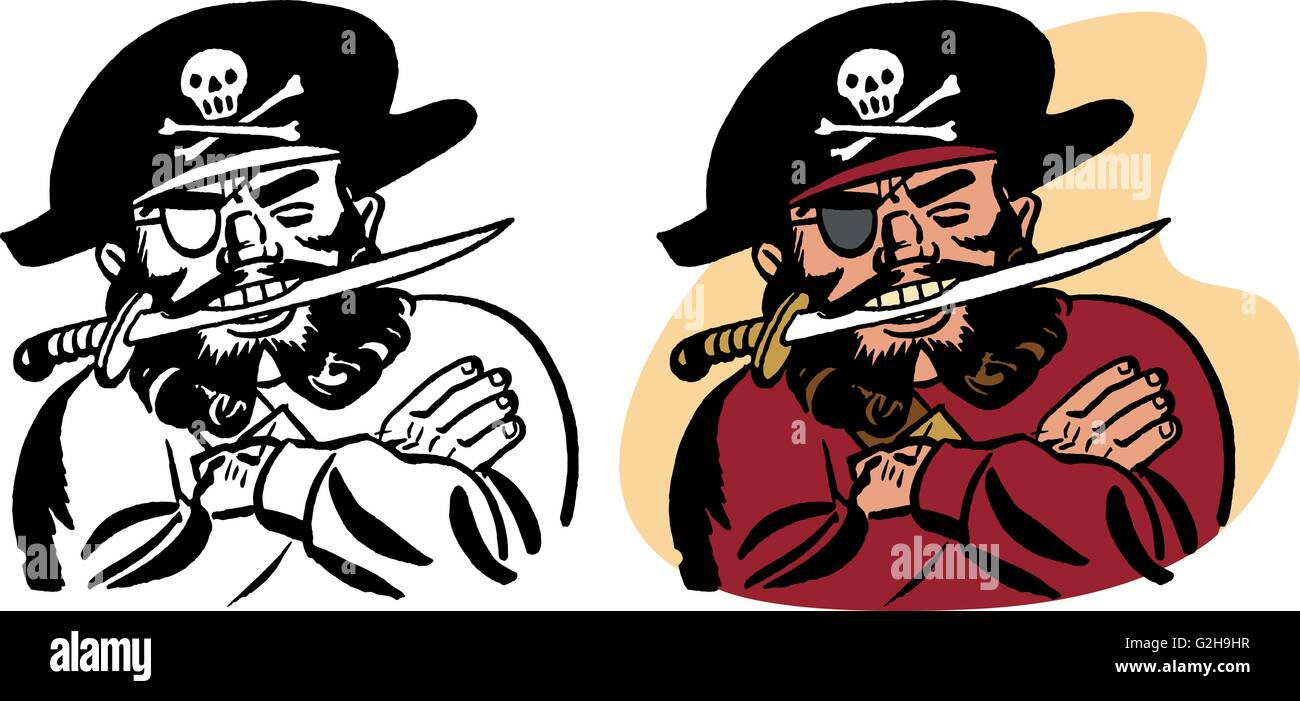 A pirate with a knife in his teeth - Stock Vector