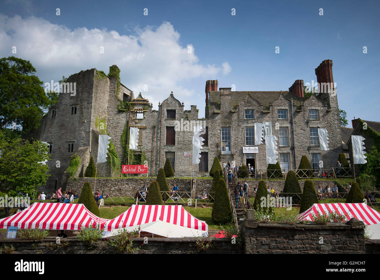 Hay Castle on a warm sunny day in Hay-on-Wye, Wales. - Stock Image