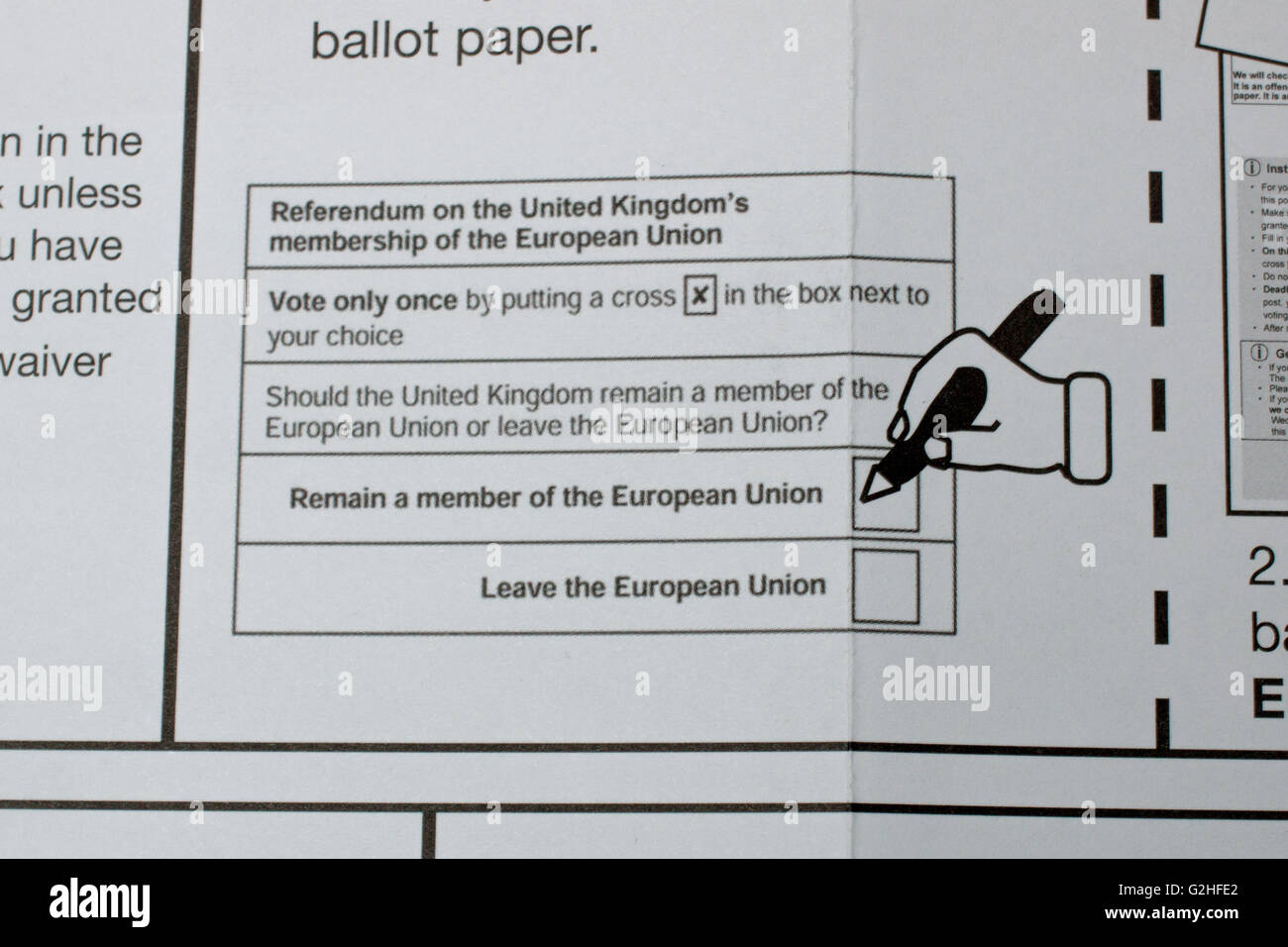 Close up of the postal vote illustration criticized for bias during the 2016 UK EU Referendum. - Stock Image