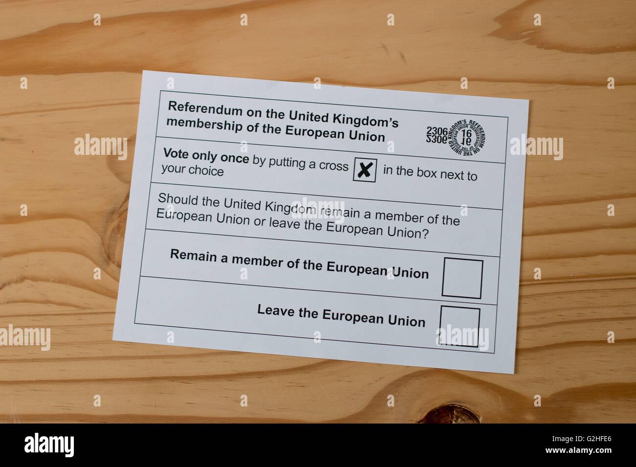 Ballot paper for the UK's 2016 Referendum on membership of the EU - Stock Image