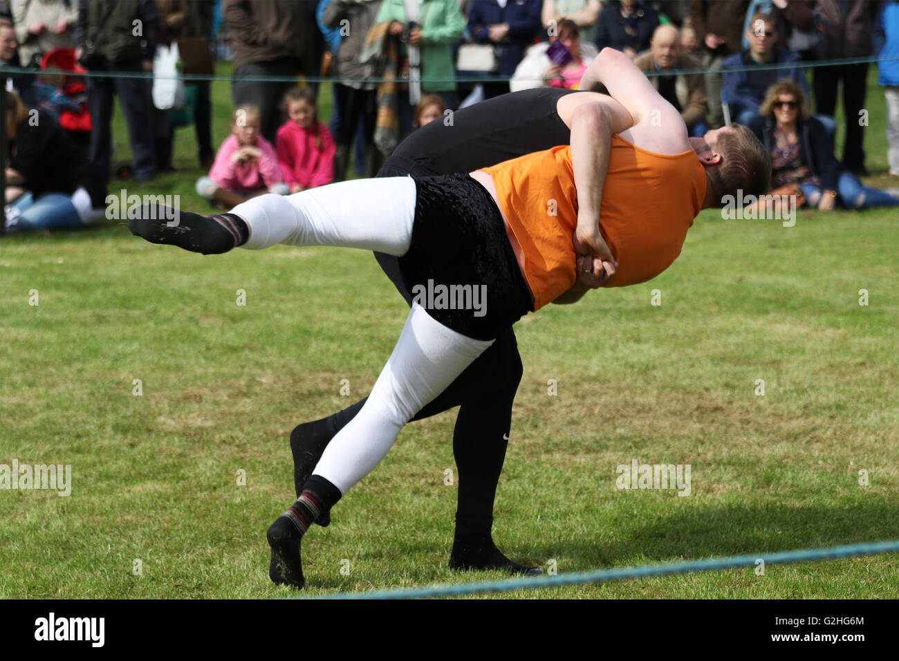 Bywell, England - May 30, 2016: Cumberland and Westmoreland Wrestling match at the Northumberland County Show at - Stock Image