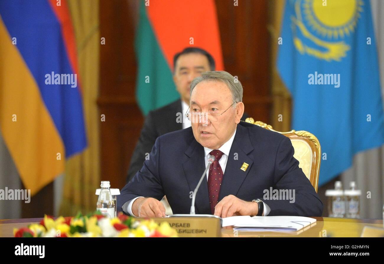 Astana, Kazakstan. 31st May, 2016. Kazakhstan President Nursultan Nazarbayev during the Eurasian Economic Union - Stock Image
