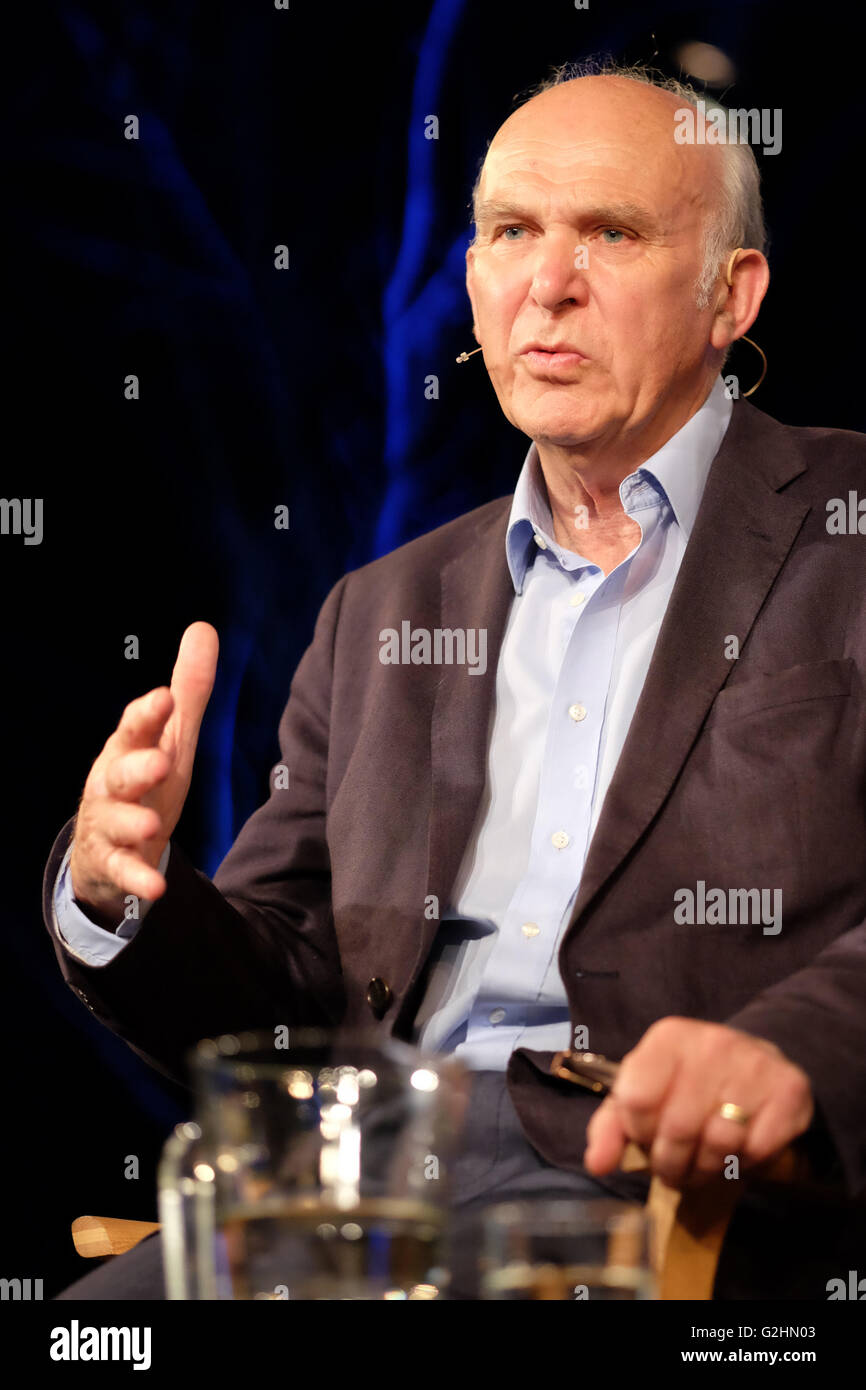 Hay Festival, Wales, UK - May 2016 -  Vince Cable former Liberal Democrat MP and business secretary in the previous - Stock Image
