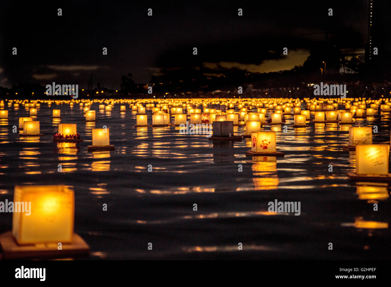 More than 6,000 candle-lit lanterns float across Honolulu harbor ... for lanterns at night beach  197uhy