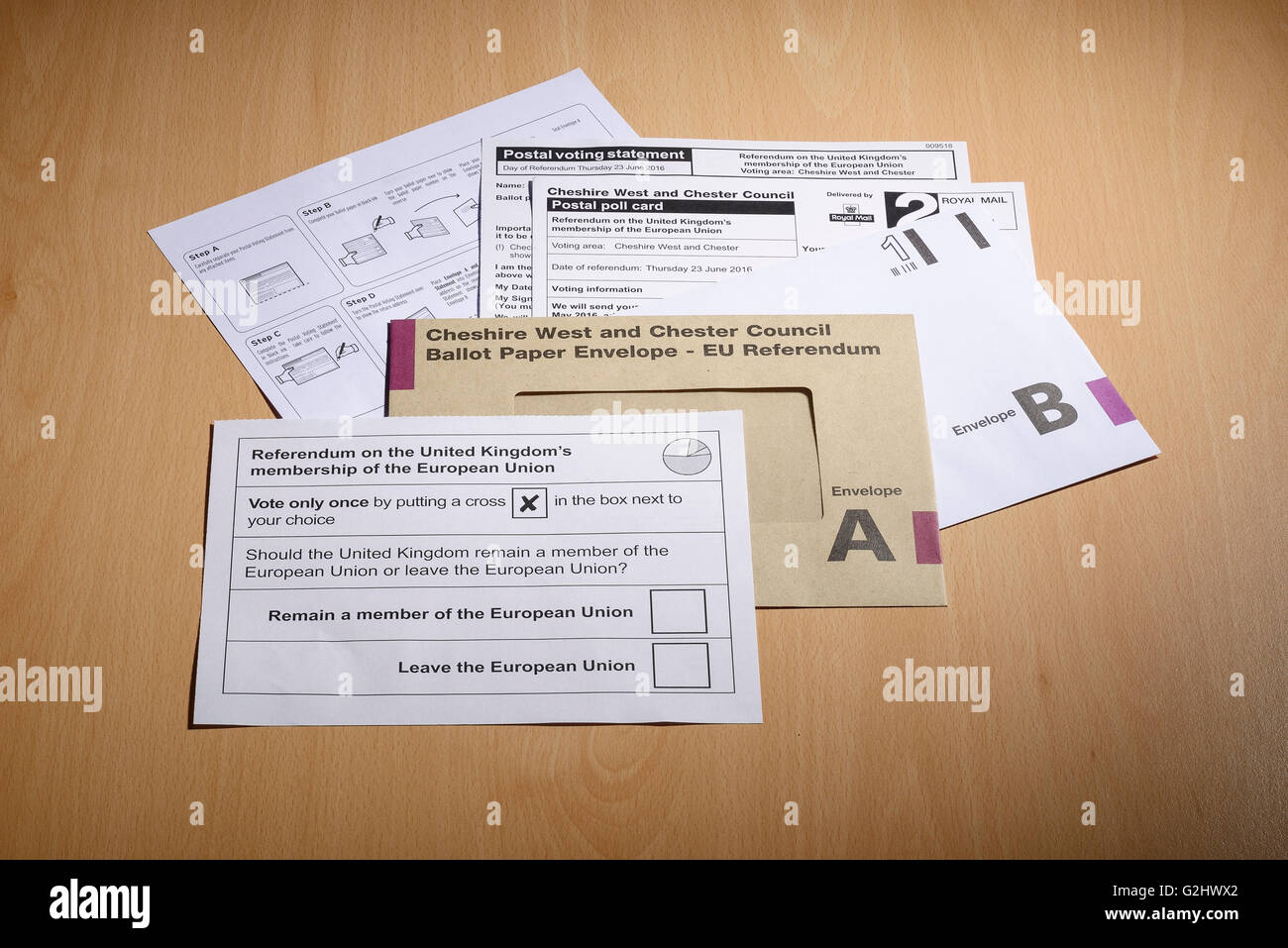 Postal voting forms for the UK referendum on membership of the EU arrive at a house in Chester, UK. 1st June 2016. - Stock Image