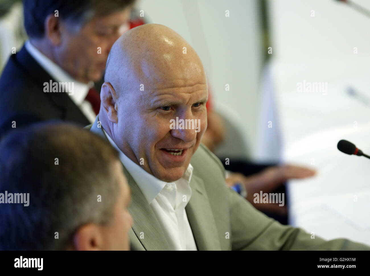 MOSCOW, RUSSIA - JUNE 1, 2016: Russian wrestler Mikhail Mamiashvili, the president of the Russian Wrestling Federation, - Stock Image