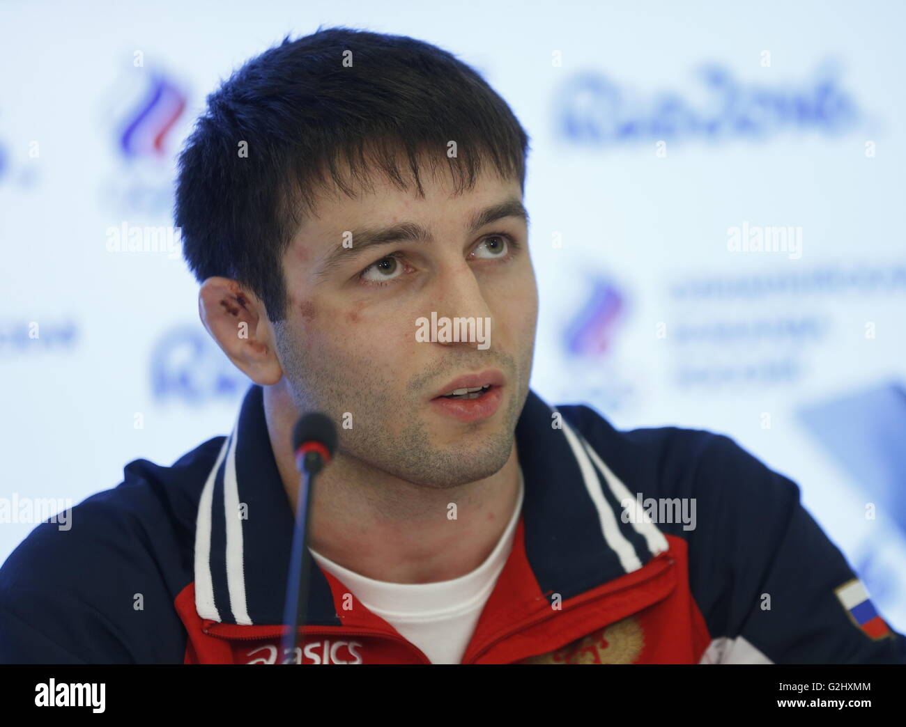 MOSCOW, RUSSIA - JUNE 1, 2016: Russian freestyle wrestler Soslan Ramonov attends a press conference on preparations - Stock Image
