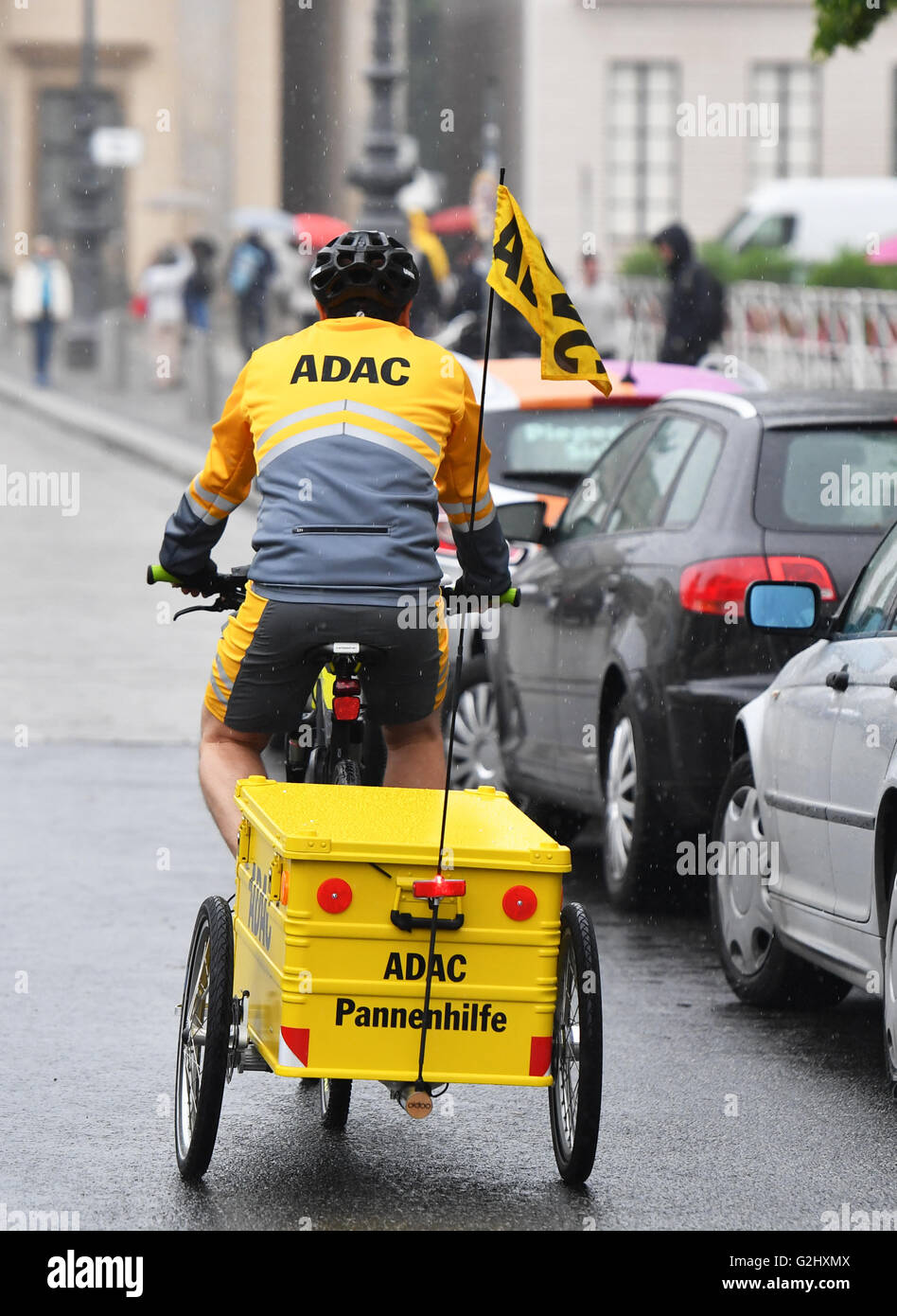Road patrol driver Dirk Niessl rides his e-bike at a press event at the Pariser Platz in Berlin, Germany, 01 June Stock Photo
