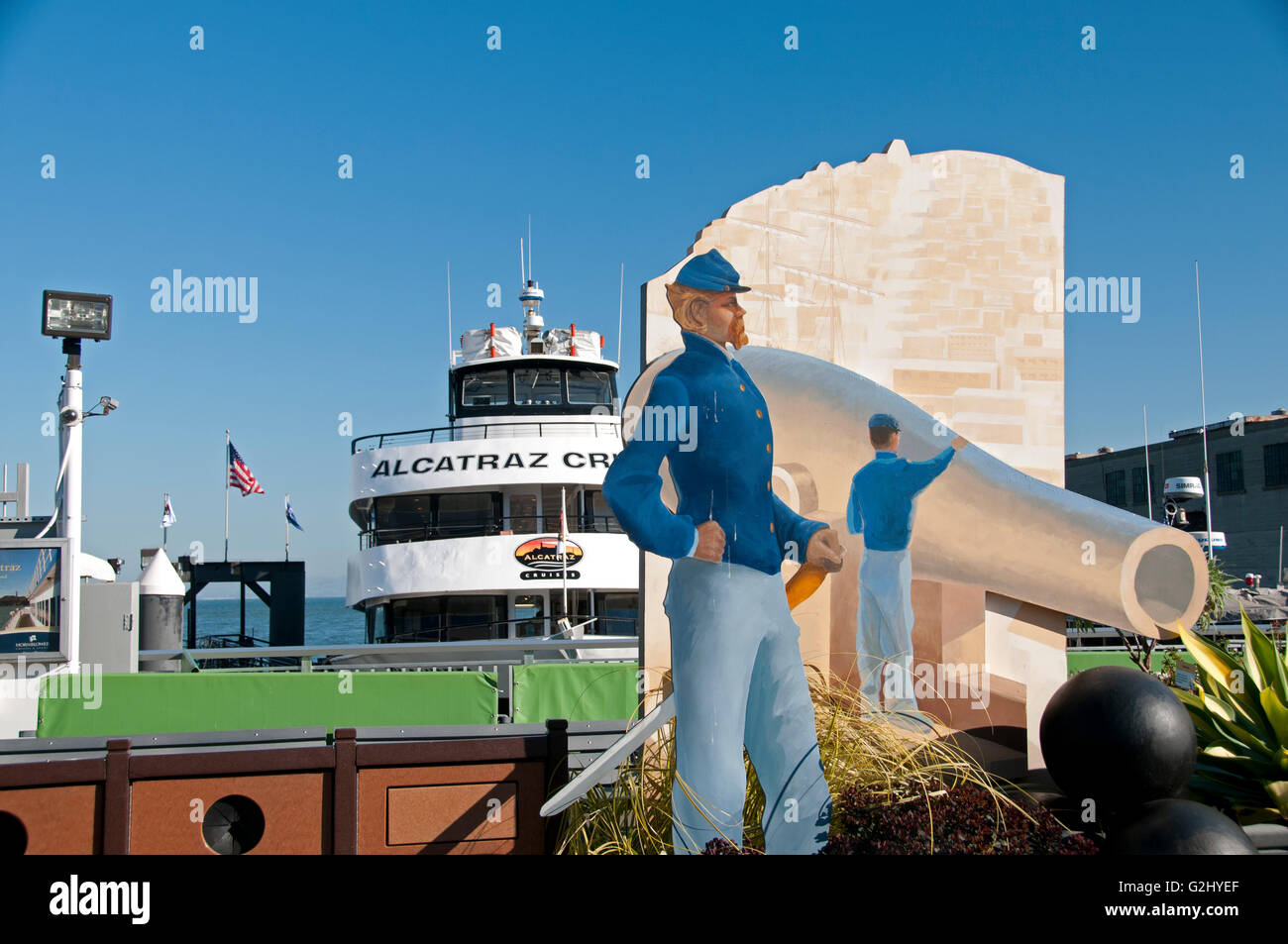A display for Hornblower Alcatraz Island tour, for the National Park Service, featured on Pier 33 at San Francisco - Stock Image
