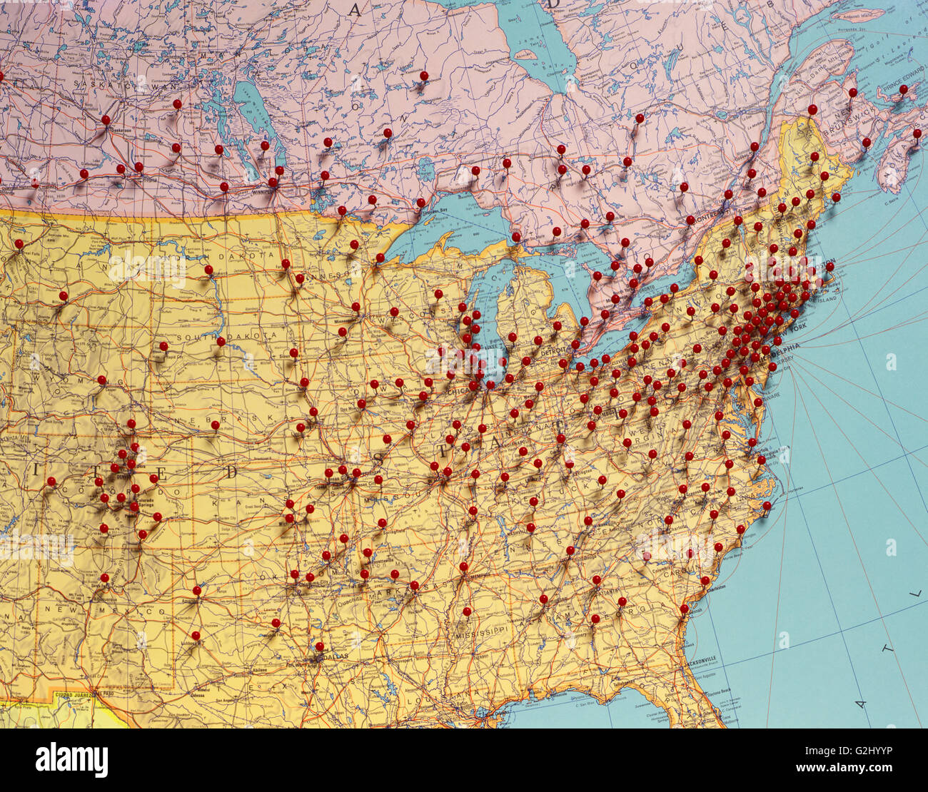 Map Of Usa With Pins.Usa Map With Red Push Pins Stock Photo 104886650 Alamy