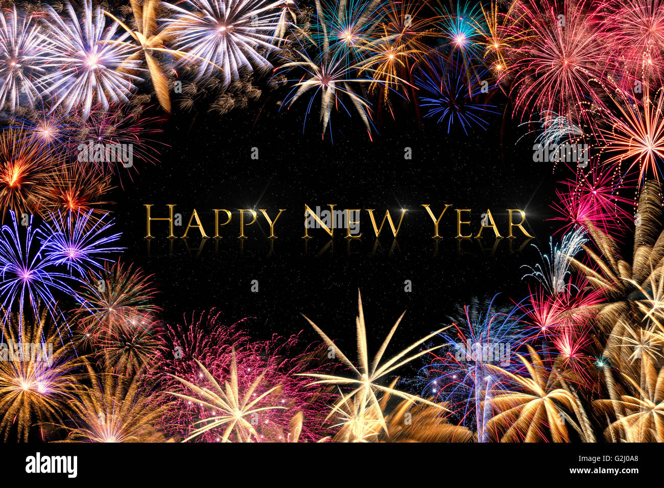 a colorful fireworks border on a black background with golden text happy new year