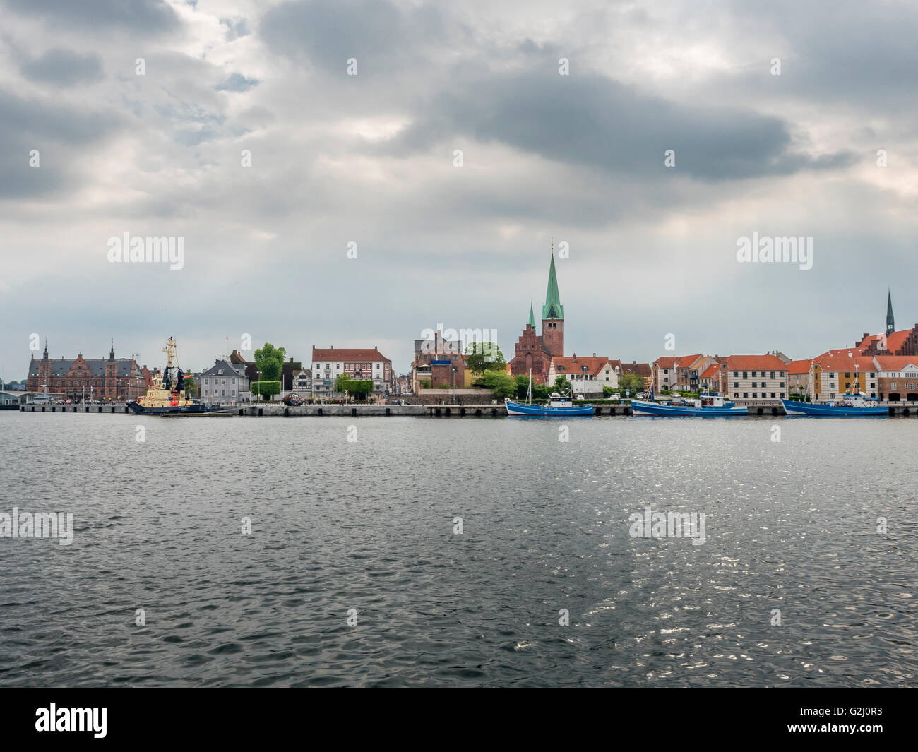 View of the port area of Helsingoer and historic city, Denmark, Europe - Stock Image