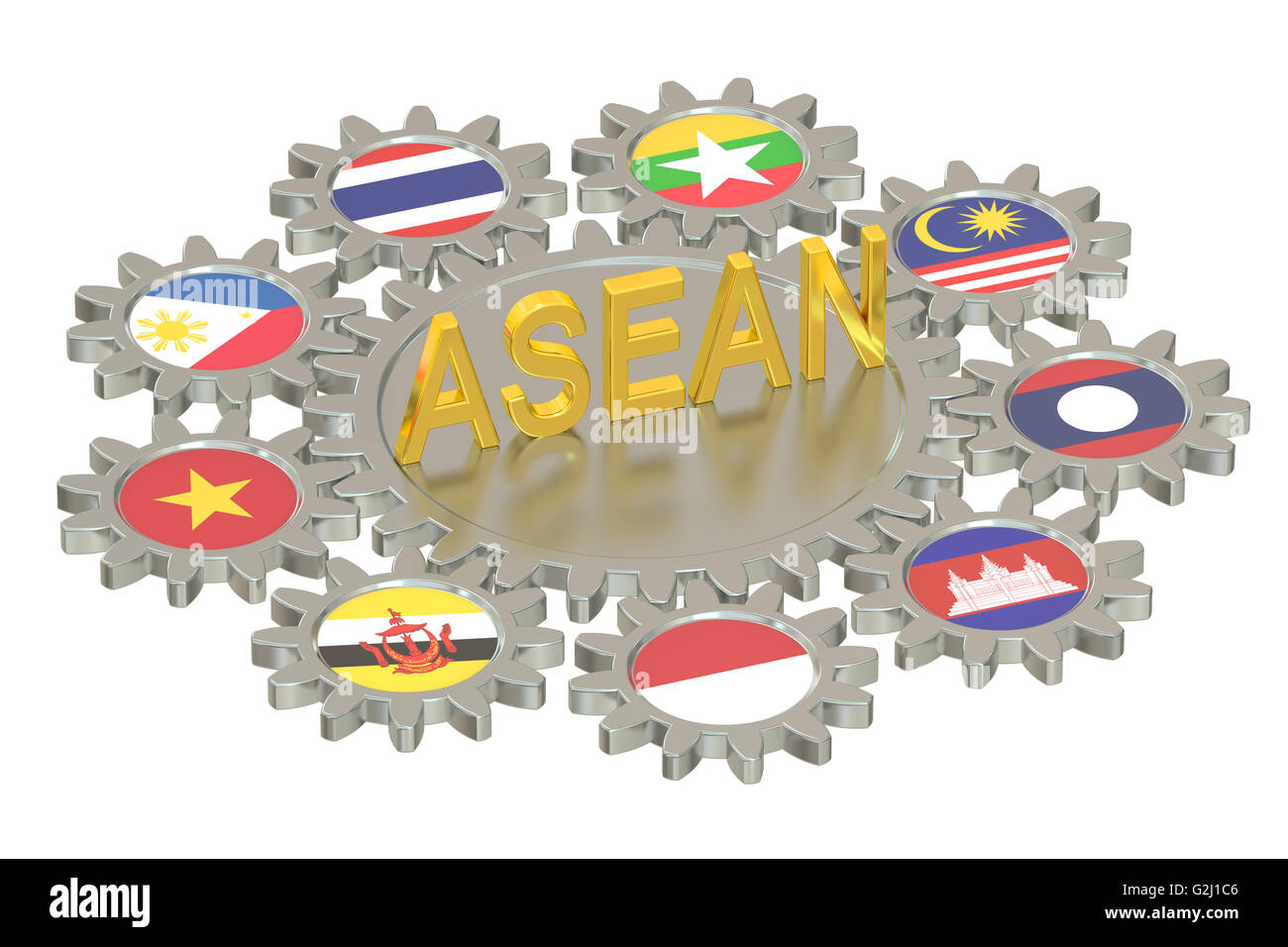 ASEAN concept, 3D rendering isolated on white background - Stock Image