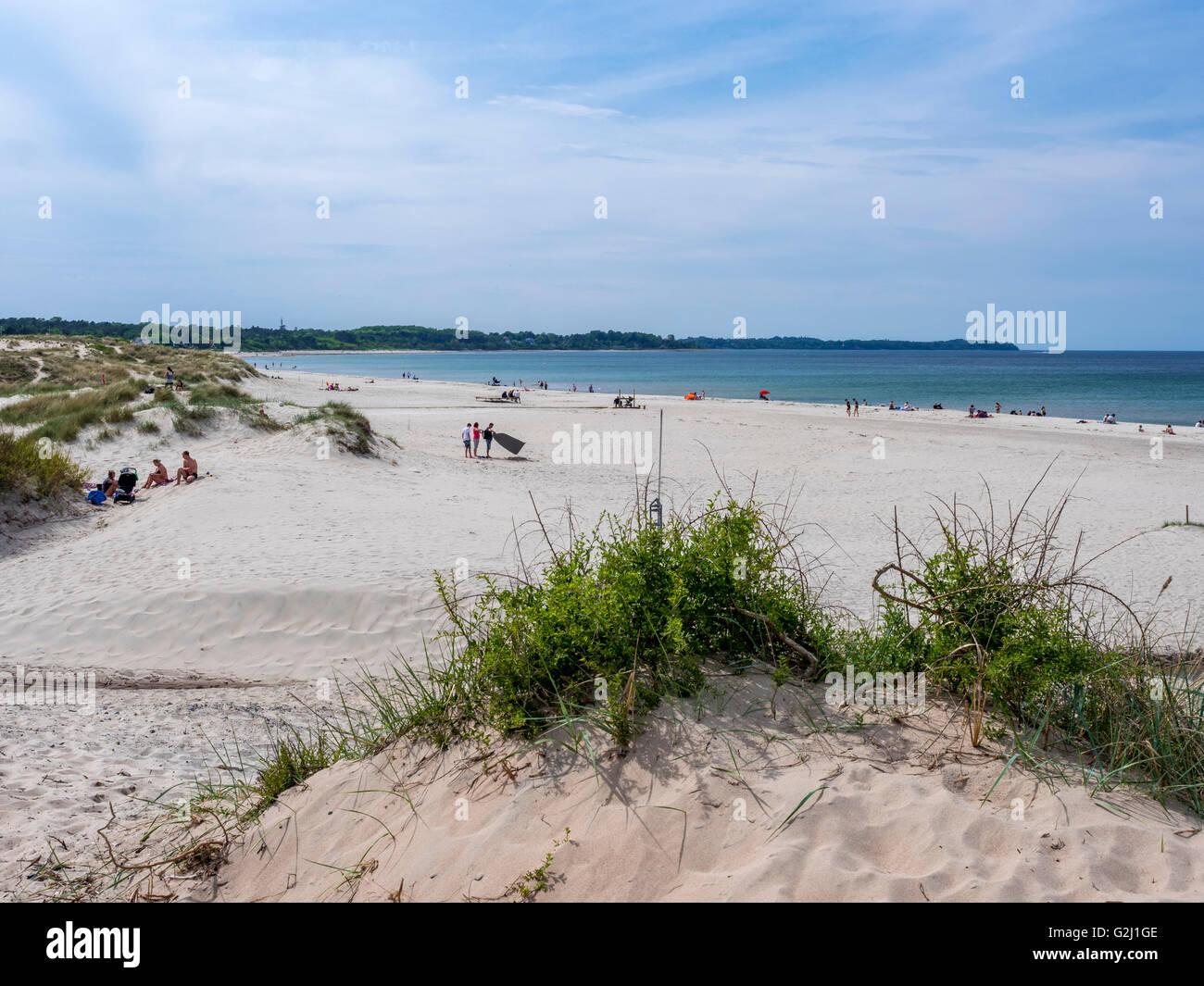 The beach at the popular summer resort Hornbaek in North Zealand, Denmark, Scandinavia, Europe - Stock Image