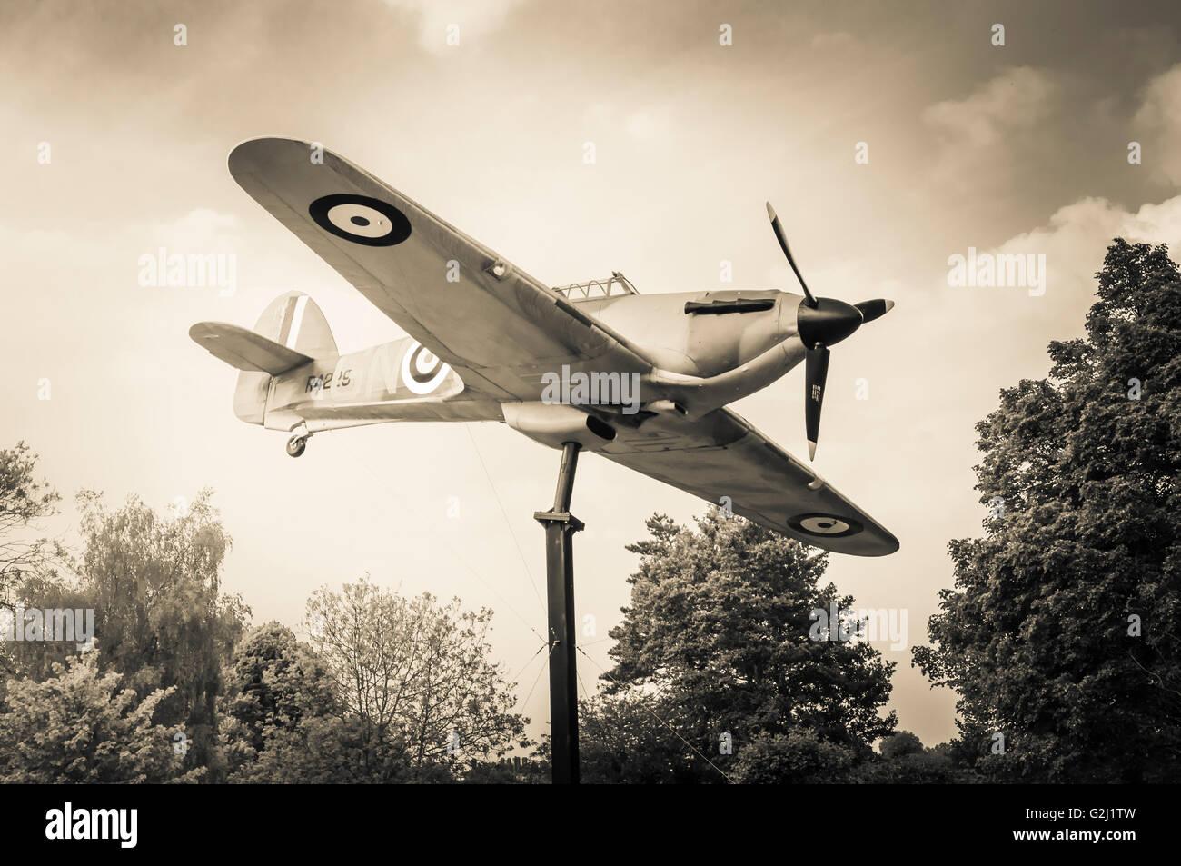 Hawker Hurricane a British single-seat fighter aircraft WW2 Model. - Stock Image