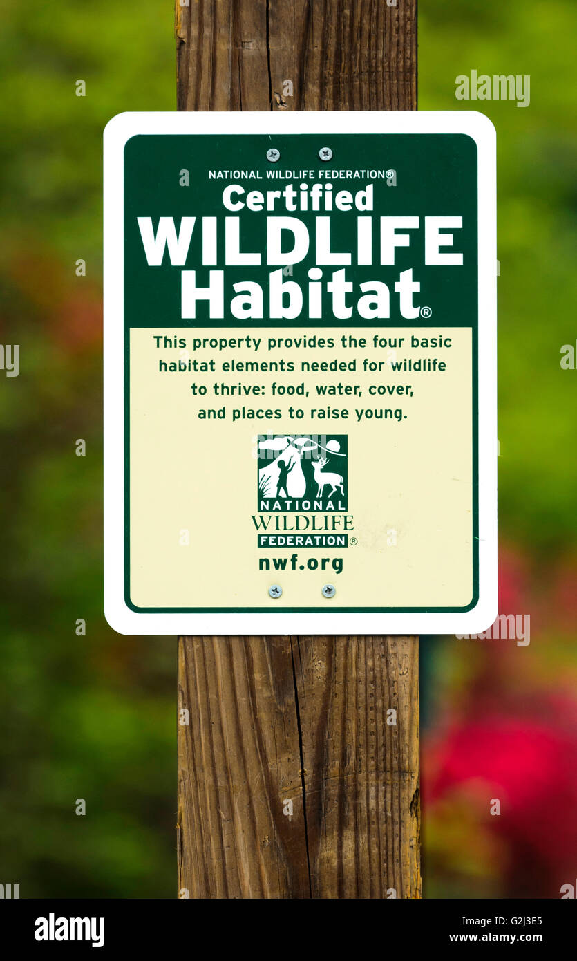 Sign indicating a 'Certified Wildlife Habitat' - Stock Image