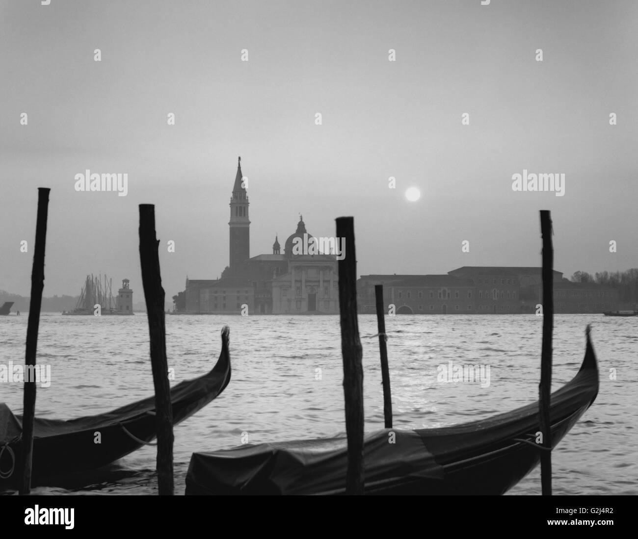 Sunrise Over Gondolas and San Giorgio Maggiore, Venice, Italy - Stock Image