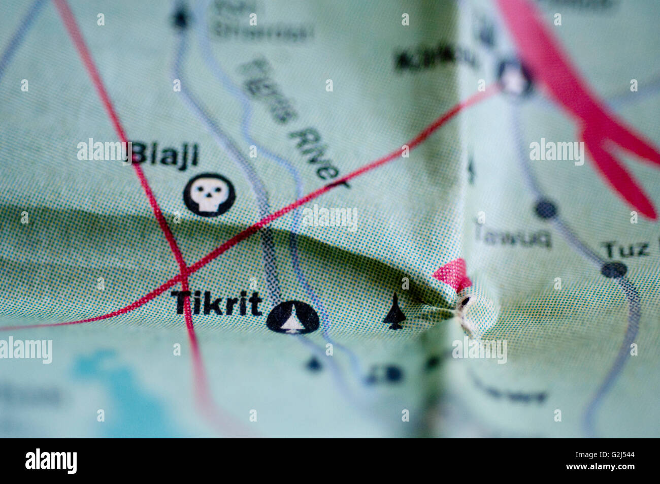 map of tikrit iraq detail stock image