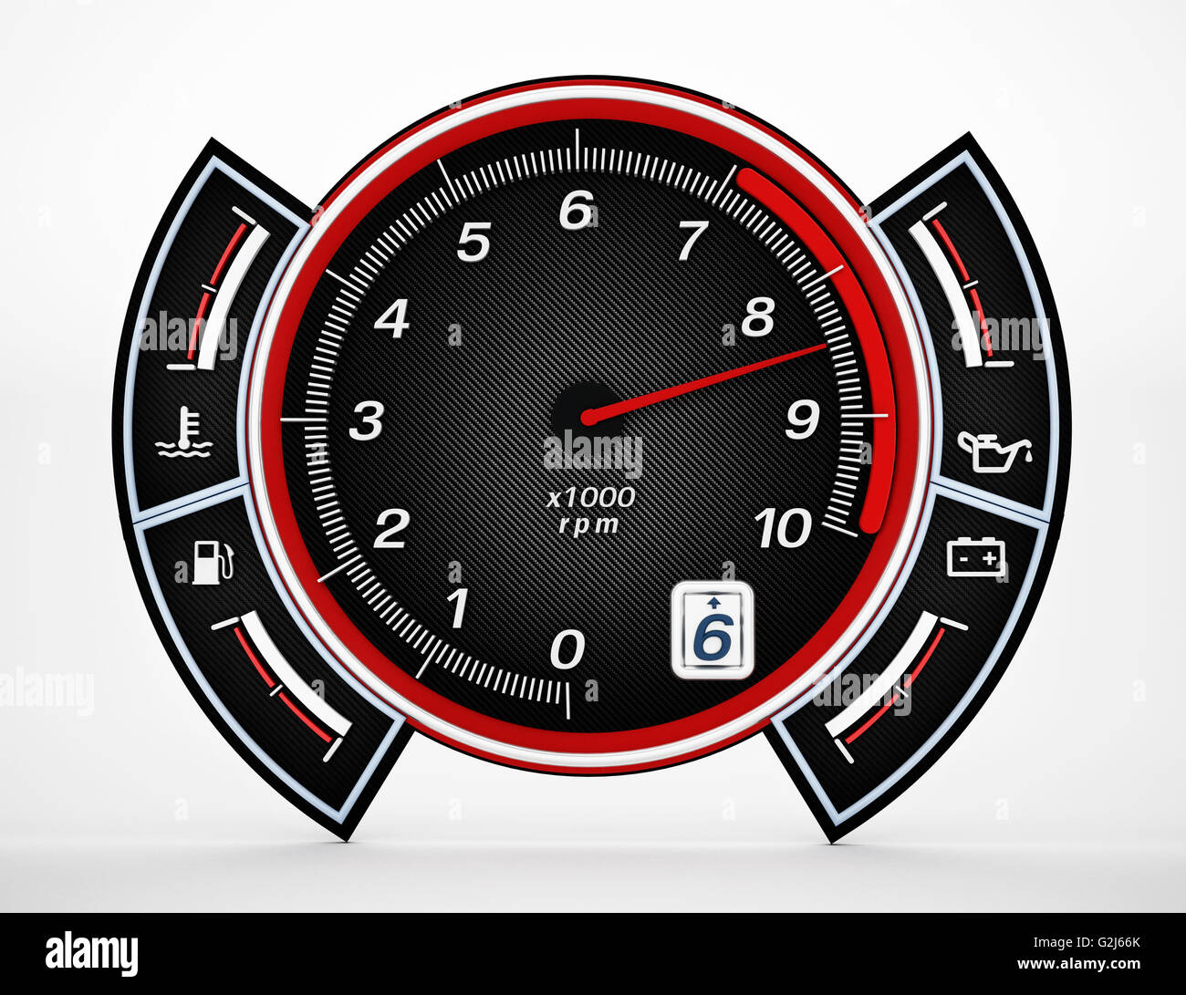 Engine RPM gauge with needle pointing high revs. 3D illustration. - Stock Image