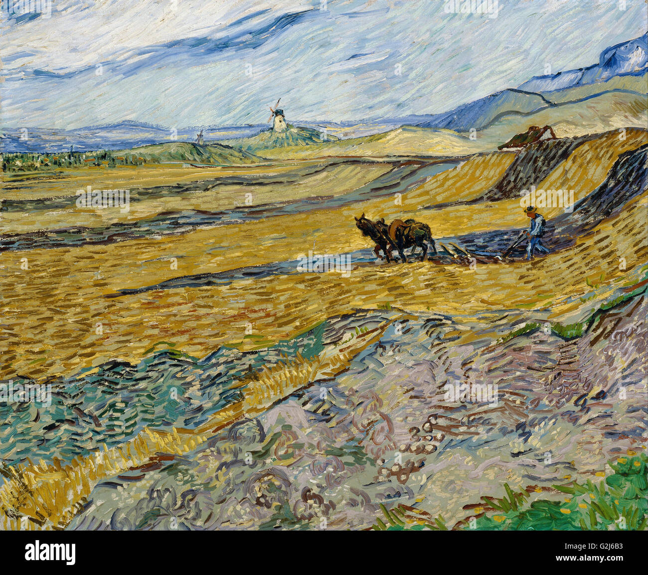 Vincent van Gogh - Enclosed Field with Ploughman - Museum of Fine Arts, Boston - Stock Image