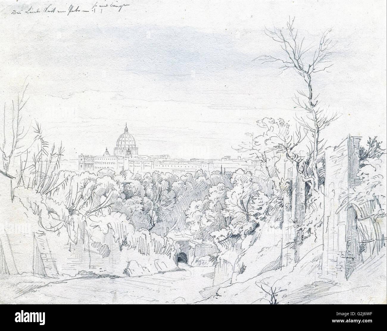 Johann Georg von Dillis - View of Saint Peter's Basilica in Rome - Museum Kunstpalast, Düsseldorf - Stock Image