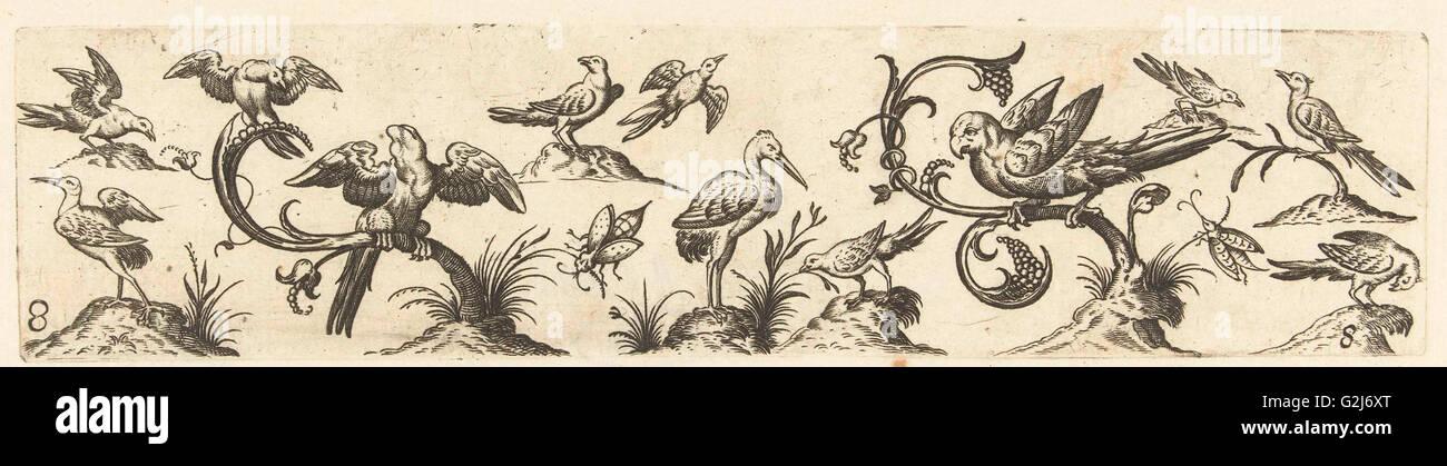 Frieze with twelve birds, Anonymous, Hans Collaert (I), 1530 - 1580 - Stock Image