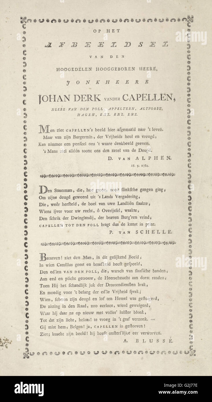 Four odes to the politician Joan Derk van der Capellen tot den Pol, Jan de Kruyff 1753-1821, Daniel van Alphen - Stock Image