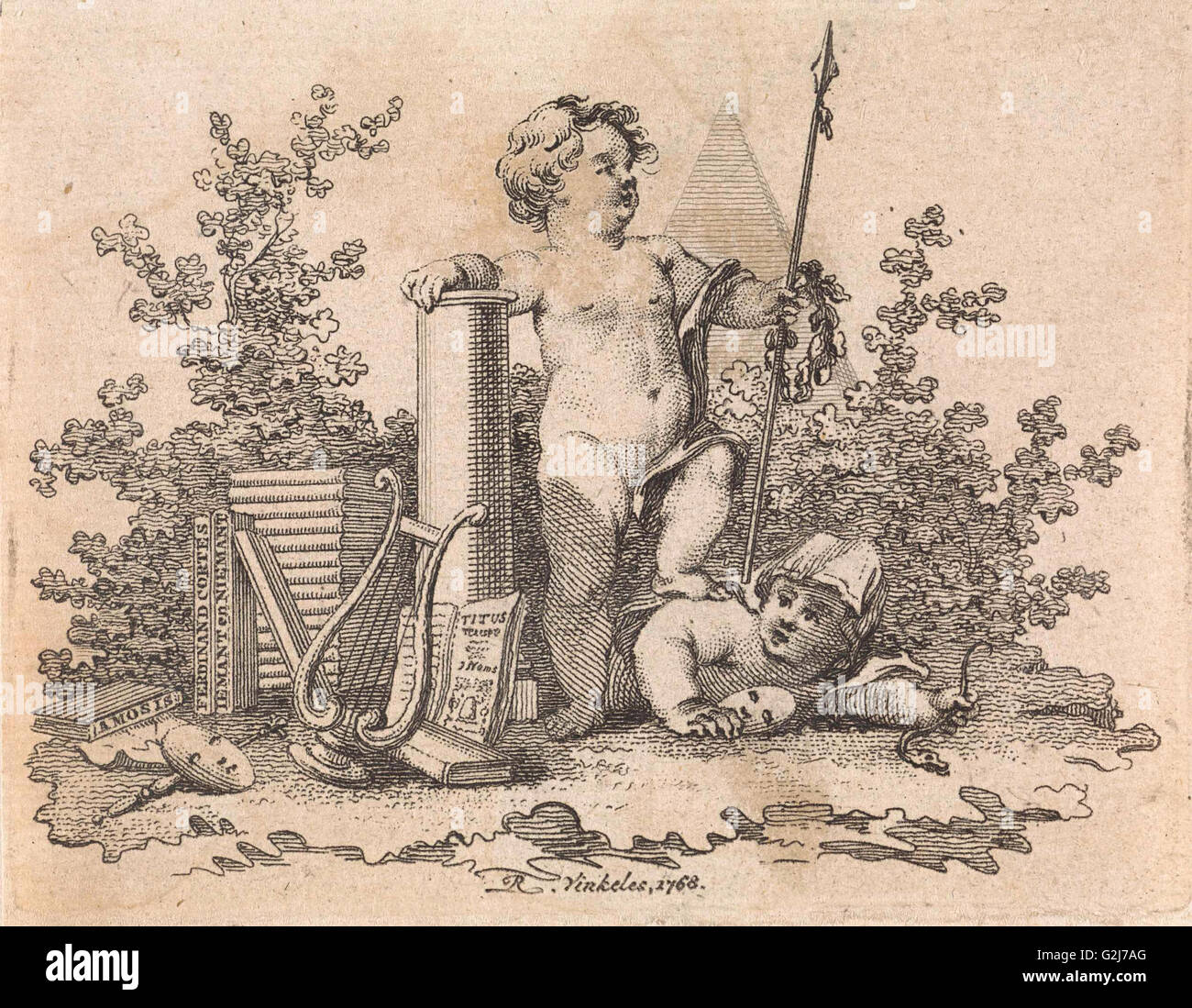 Two putti with allegorical attributes, print maker: Reinier Vinkeles, 1768 - Stock Image