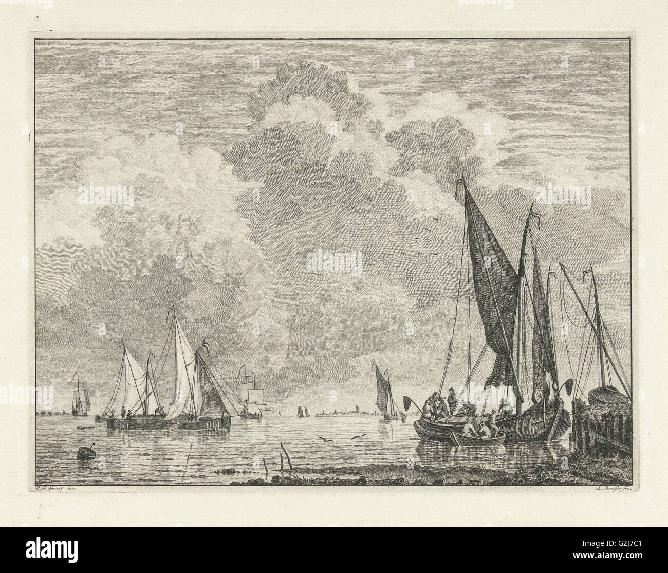 River view with ships, Leendert Brasser, 1727 - 1793 - Stock Image