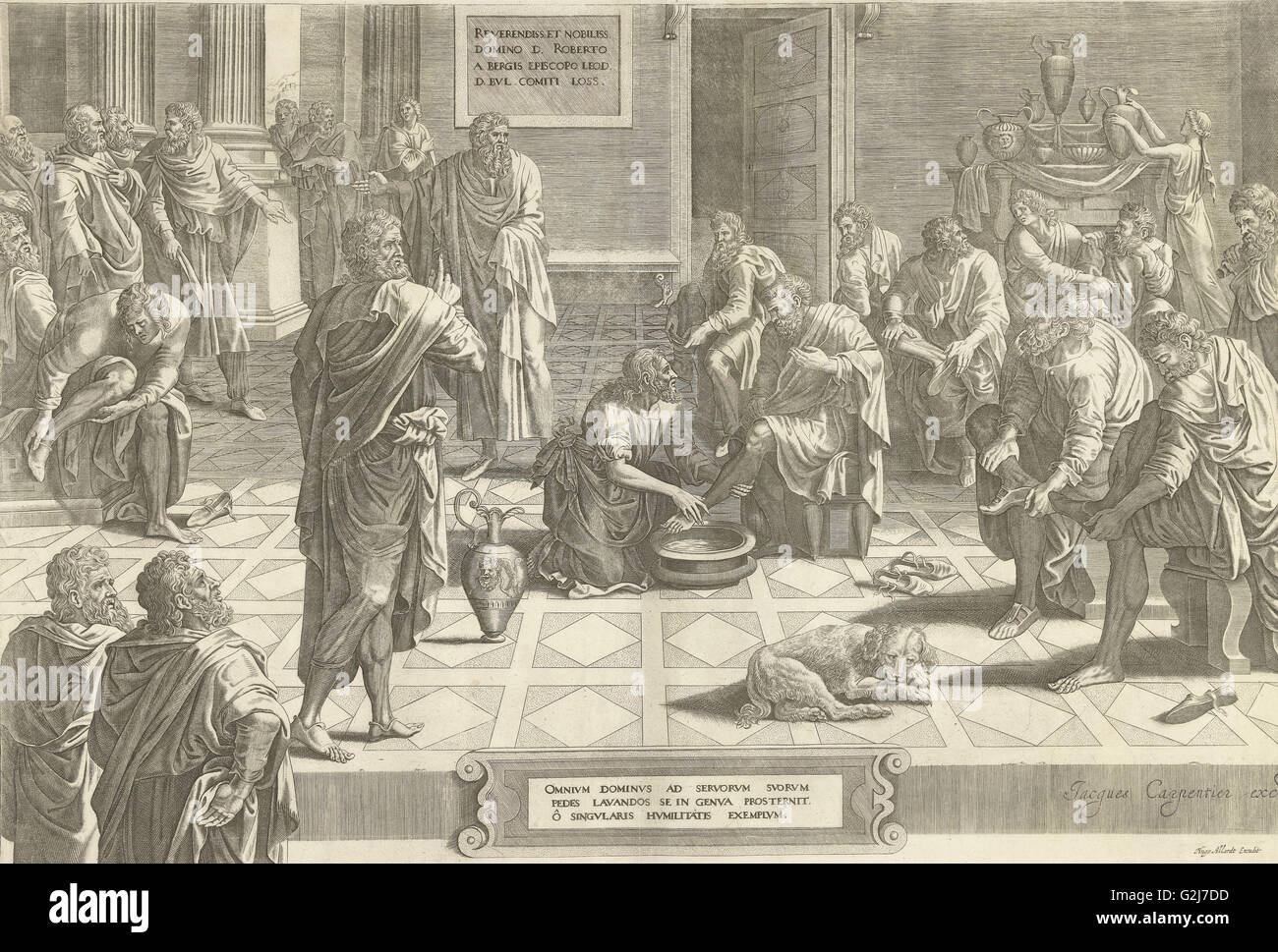 Christ washes the feet of the disciples, print maker: Anonymous, Hans Collaert I attributed to, Lambert Lombard - Stock Image