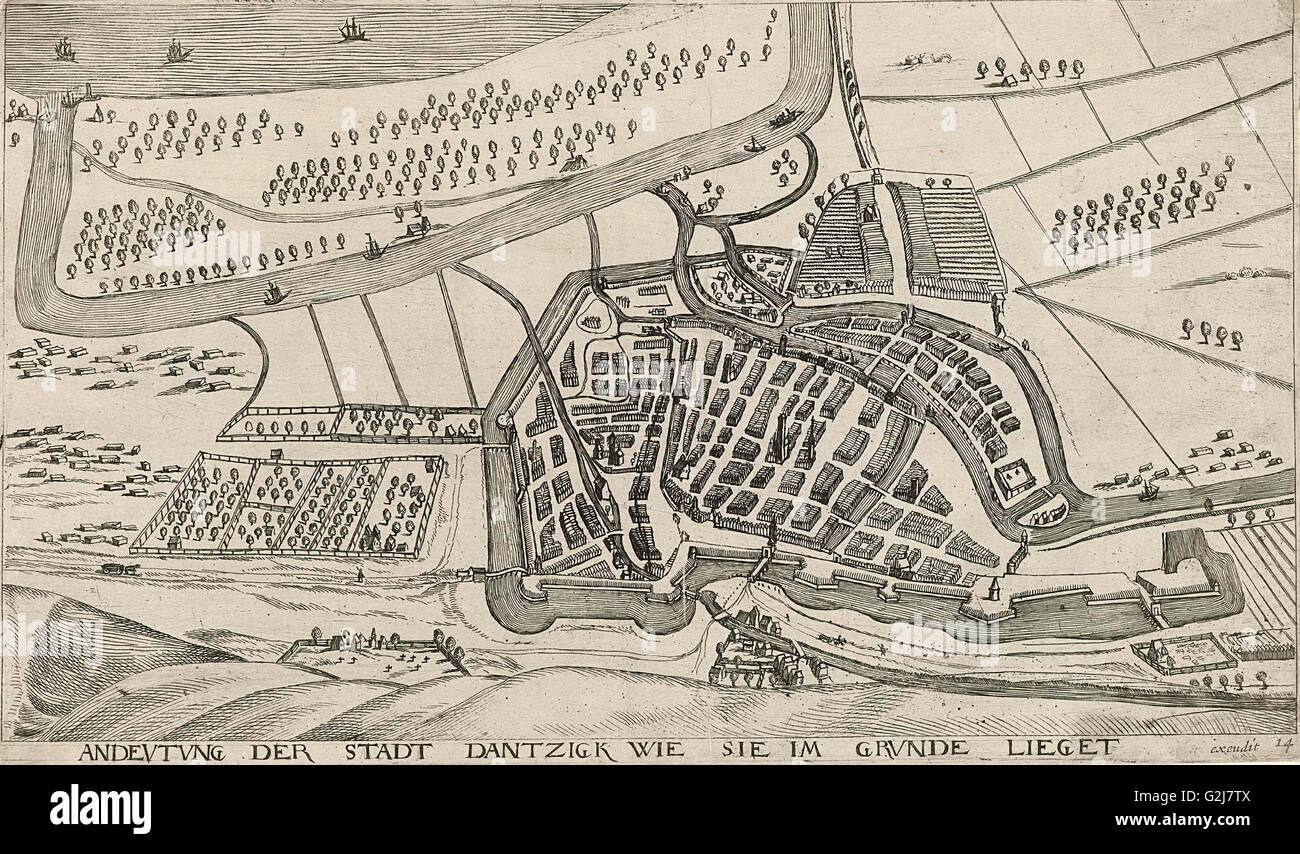 In and around the city of Danzig Series of 14 numbered prints, Aegidius Dickmann, Frederik de Wit, 1605 - 1705 - Stock Image