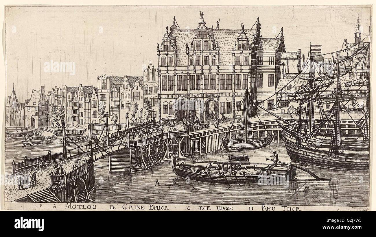 In and around the city of Danzig Series of 14 numbered prints, Aegidius Dickmann, Frederik de Wit, 1605 - 1705 Stock Photo